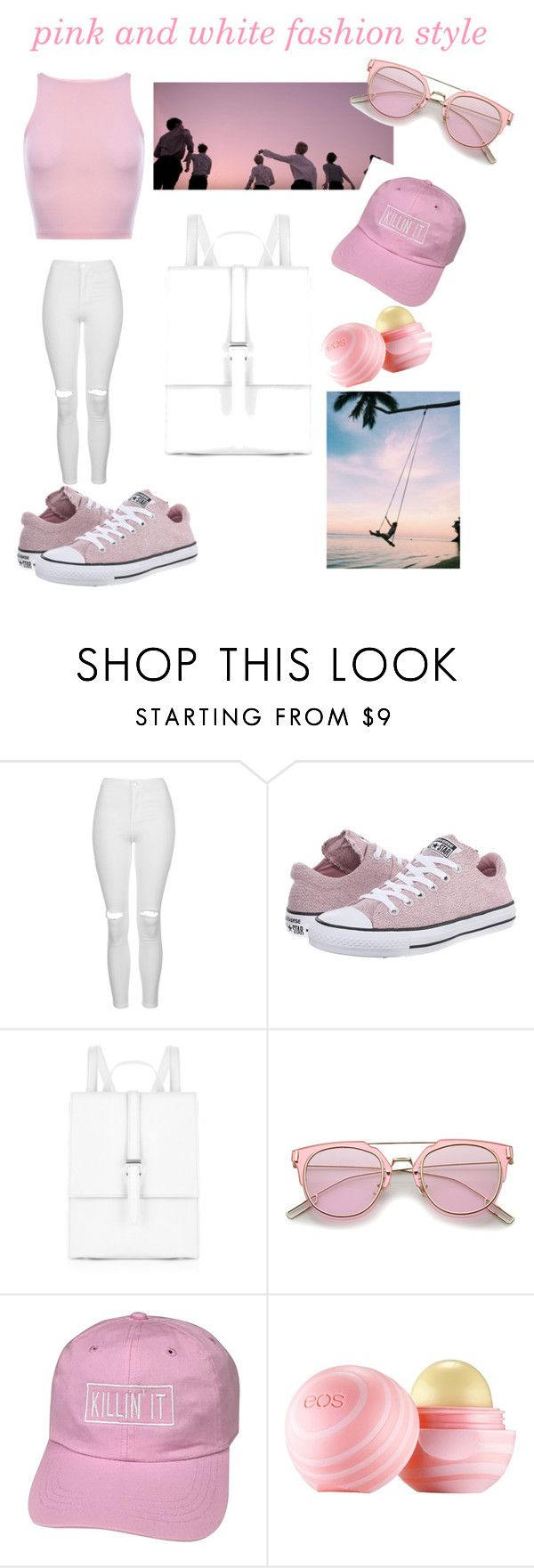 """""""Untitled #4"""" by ksmi02736 ❤ liked on Polyvore featuring Topshop, Converse, Meli Melo and Eos"""
