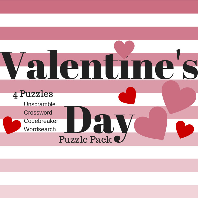 free valentines day printable puzzle pack word search code breaker unscramble and crossword