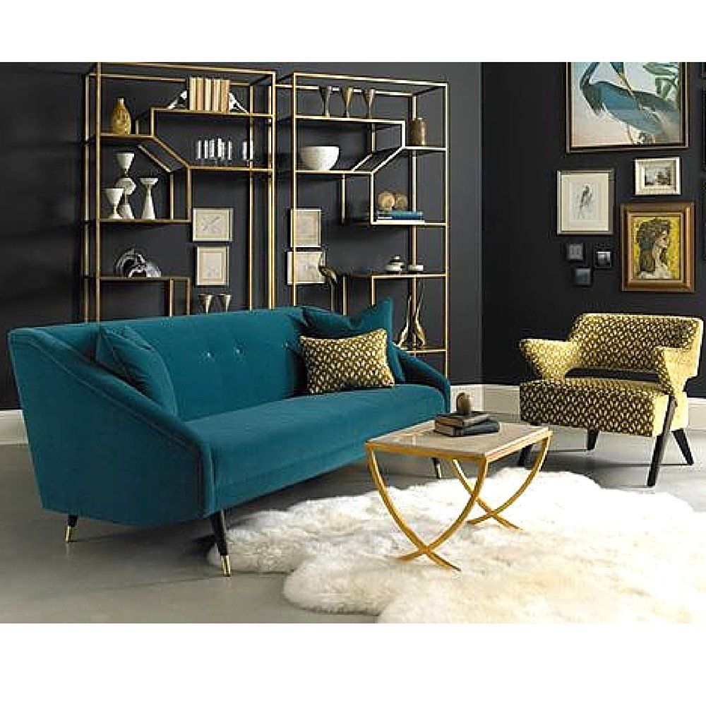 Precedent Furniture Finnick Sofa In Room With Gold Aria Chair And Ainsley Etageres Luxury Furniture Funky Home Decor Interior Deco