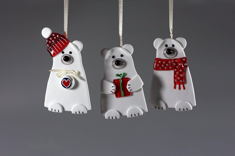 Items similar to Murano glass Polar bears Christmas tree hanging ornaments set - Winter woodlands decoration xmas ornament - Modern rustic holiday decor on Etsy