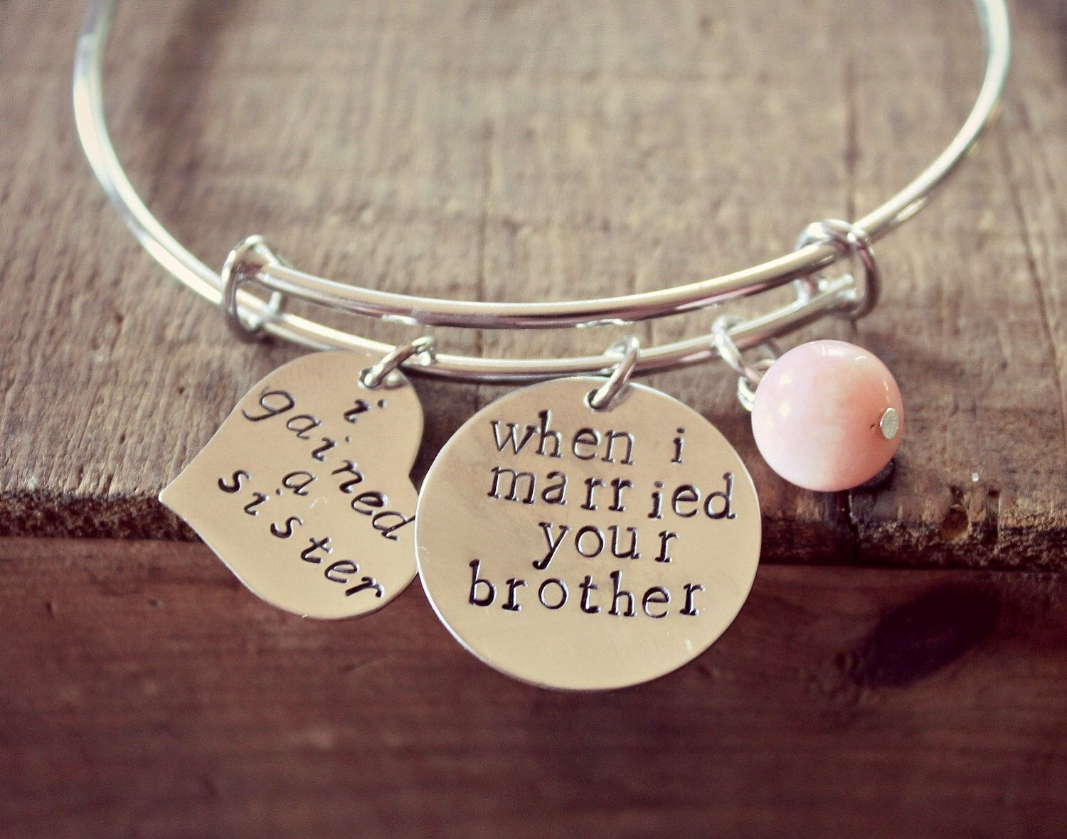 Sister of the Groom Gift, Sister In Law Bracelet, Personalized Hand ...