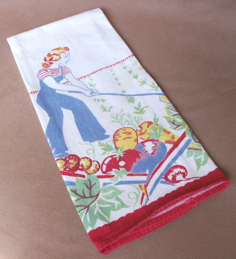 Vintage 40's Dish Towel, Tea Towel, Kitchen Towel, Garden Print with Girl, Red, Yellow, Blue, Green on White Cotton.