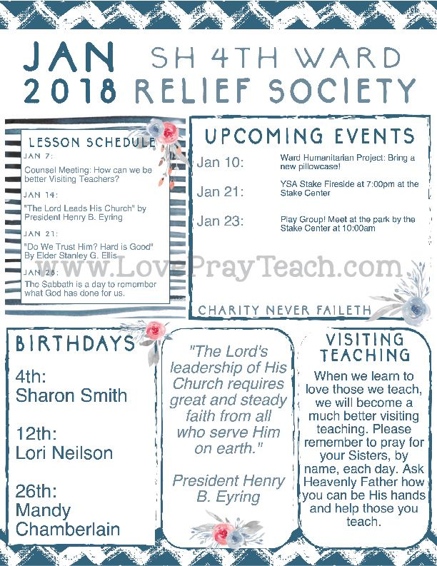 2018 relief society newsletter and lesson schedule calendar by lds. Black Bedroom Furniture Sets. Home Design Ideas