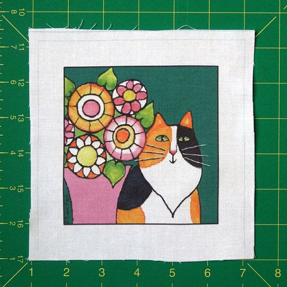 Cat Quilt Block Art Fabric/ Longhair Calico by SusanFayePetProjects, $3.50