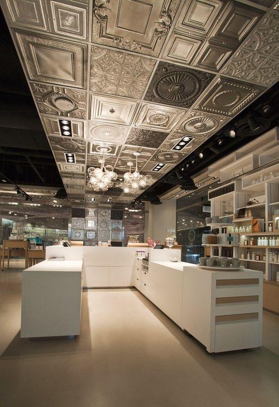 Tin panel lighting tin panels idea pinterest cosmetics uxus jumping on the tin ceiling bandwagon by lyn ppazfo
