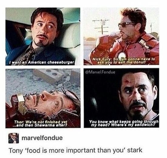 Also the fact that Robert kept snacks hidden around the set proves Marvel hires the actual characters!
