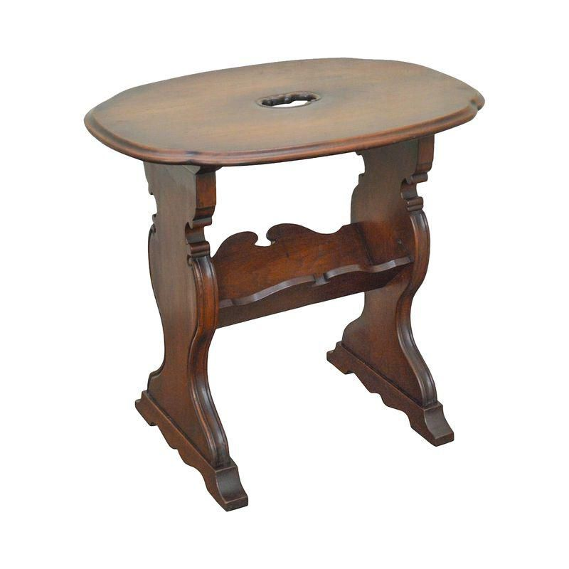 1920s Solid Walnut Custom Crafted Magazine Book Stand Side Table