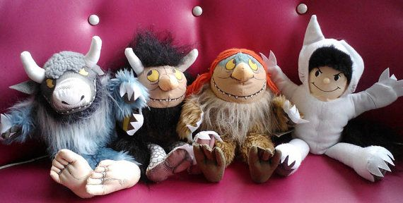 SENDAK Where The Wild Things Are Plush Hand Puppets Set of 4