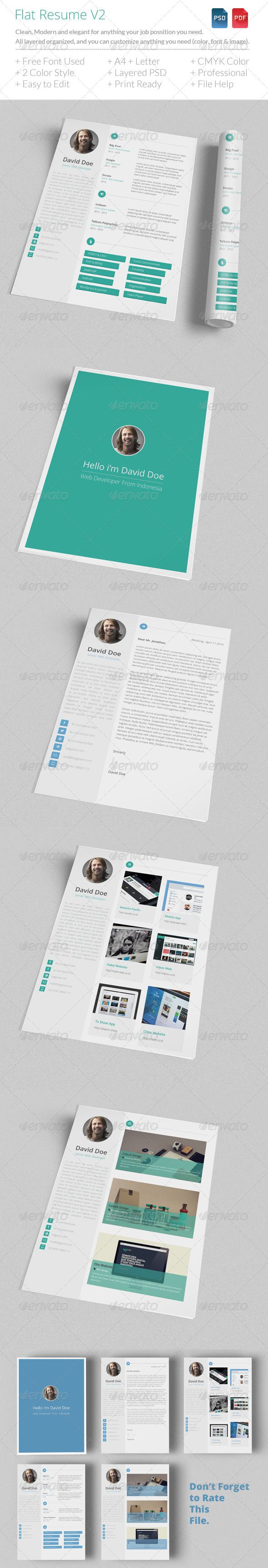 Flat Resume V2 | Resume cv, Fonts download and Flat design