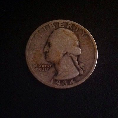 Vintage 1934 D Washington Quarter Circulated Old