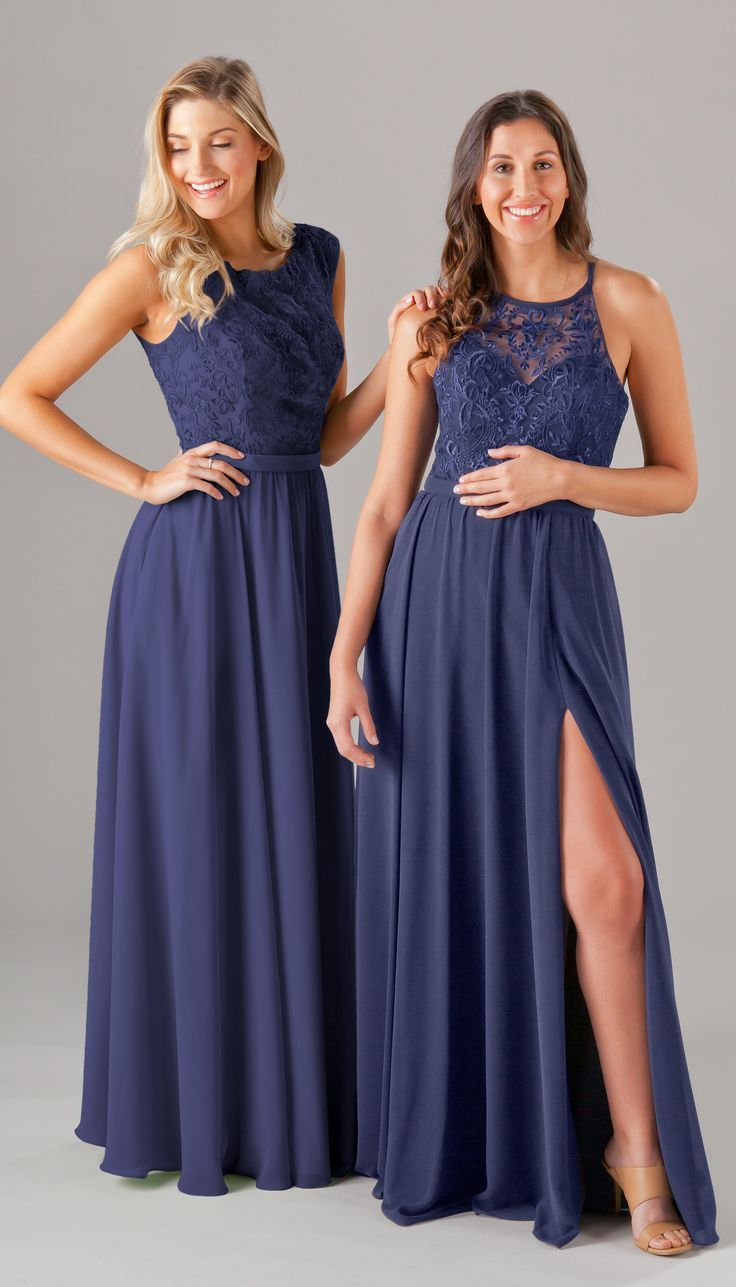 5d0a4fb3c0c Outfit your bridesmaids in these embroidered lace-top bridesmaid dresses  featuring a variety of necklines