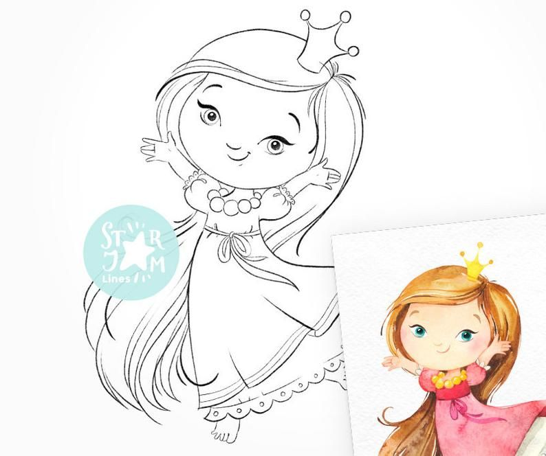 Little Princess Digi Stamp Coloring Page Digital Art Baby