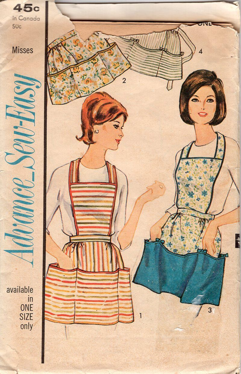Free Us Ship Craft Uncut Vintage Retro 1960s 60s  Apron Sewing Pattern Cobbler full half triple pockets uncut One size Retro Classic by LanetzLiving on Etsy