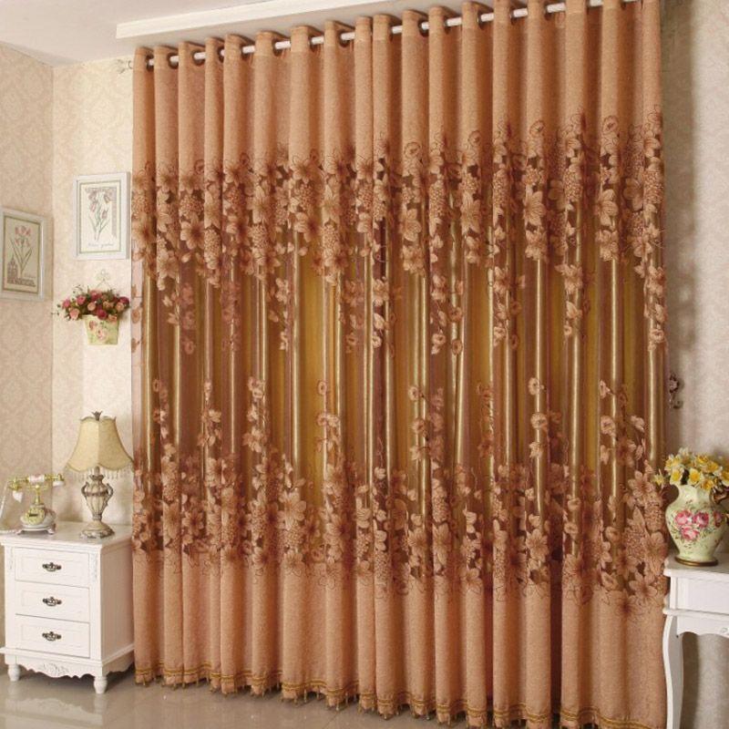 Estilo europeo de lujo cortina de tul bordado floral for Cortinas transparentes salon
