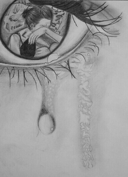 Sad Eyes My Drawlings And Lettering Drawings Art Sad Girl Drawing
