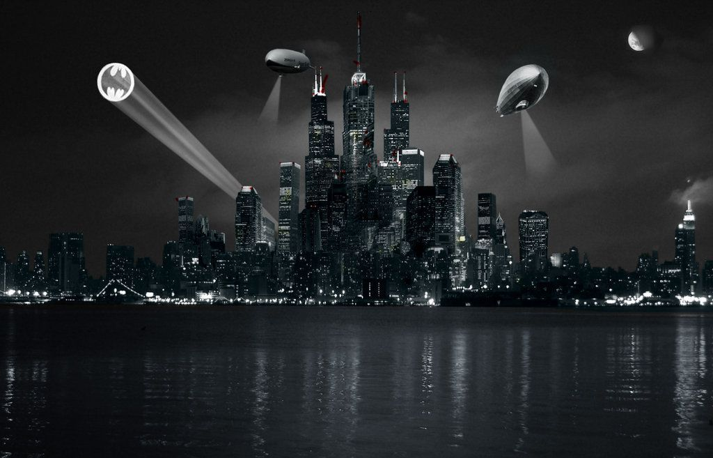 Gotham City Skyline Bat Signal High Quality Pc Dekstop Full Hd Gotham City Skyline Gotham City City Wallpaper