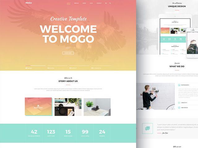 Mogo Free One Page Psd Template Freebiesbug Psd Template Free Psd Templates Website Template Design