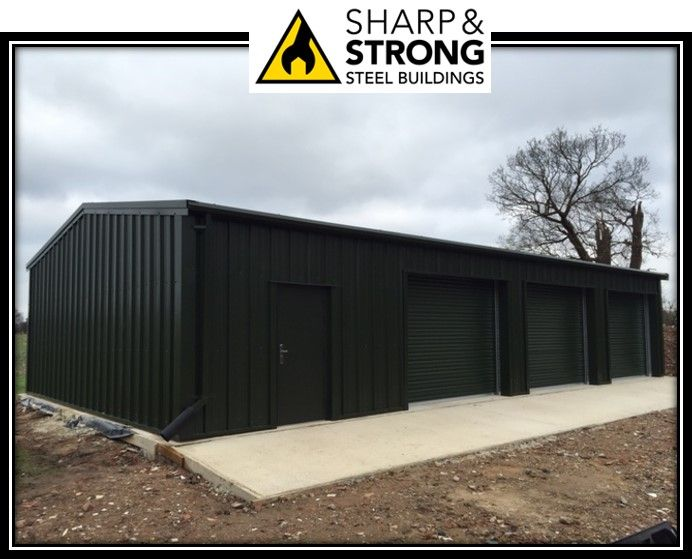 steel framed garage workshop building recently erected in colchester for our client 40mm composite cladding