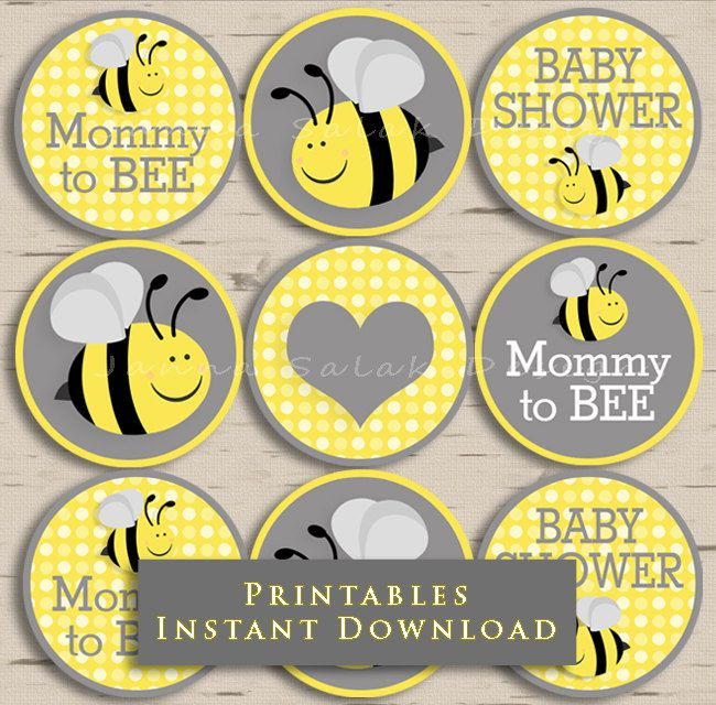 Mommy To Bee Baby Shower Cupcake Toppers Party Yellow And Grey DIY Printable INSTANT DOWNLOAD By