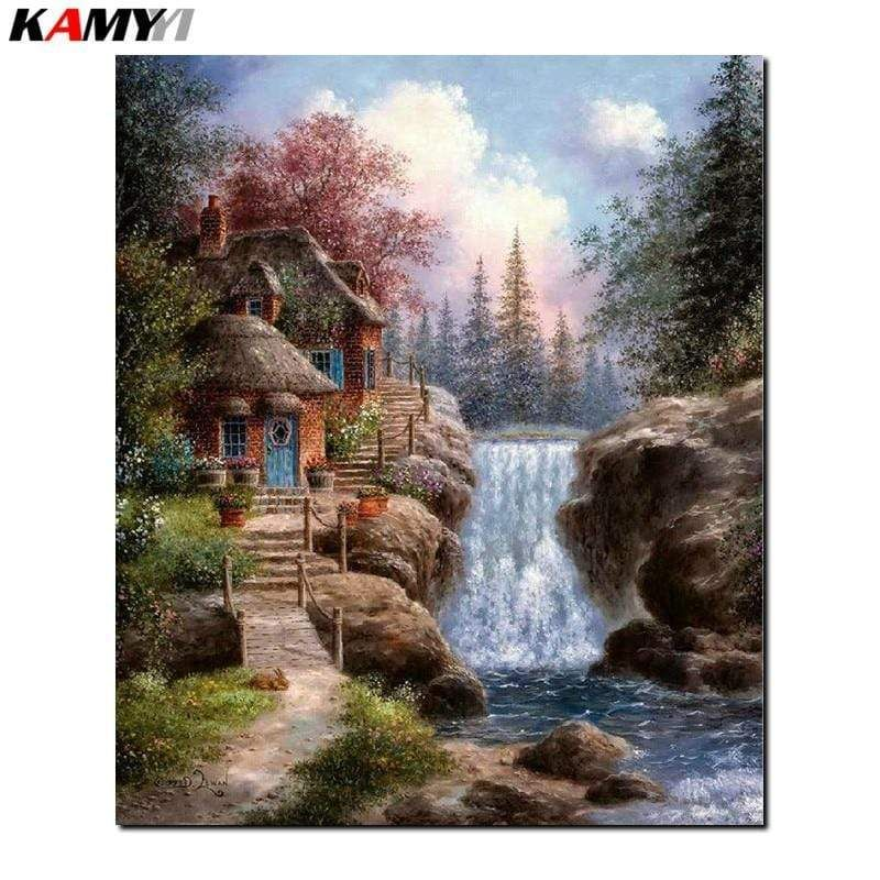 5D Diamond Painting Thatched Roof Waterfall Cottage Kit Offered by Bonanza Marketplace
