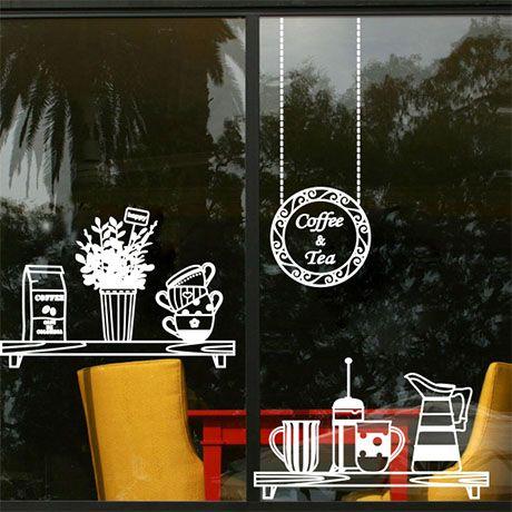Fresh Bonsai Plant Wall Stickers Coffee Shop Glass Window Mural Decals Art Decor