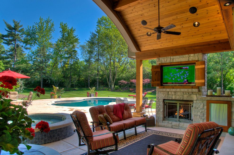 Outdoor Fireplace With Tv Patio Traditional With Area