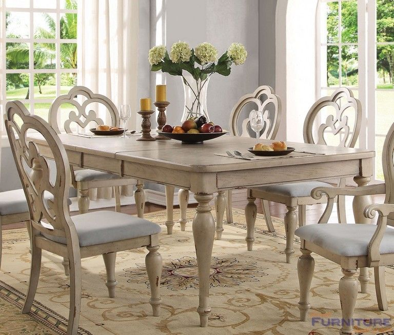 Acme Furniture  Abelin Antique White Dining Table With Leaf Simple Quality Dining Room Tables Inspiration Design