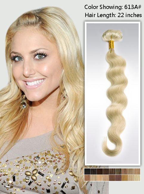 22 Inch Blonde Long Wavy Clip In Human Hair Extensions 125g