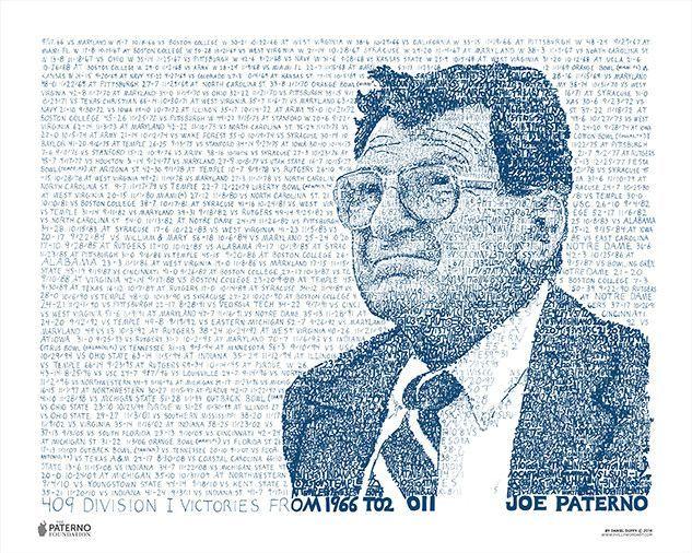Penn State Joe Paterno 409 Print by Philly Word Art | Joe paterno ...
