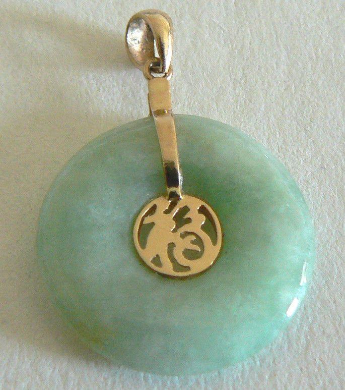 Vintage estate 14kt gold green jade pendant natural jadeite good vintage estate 14kt gold green jade pendant natural jadeite good luck mozeypictures Gallery