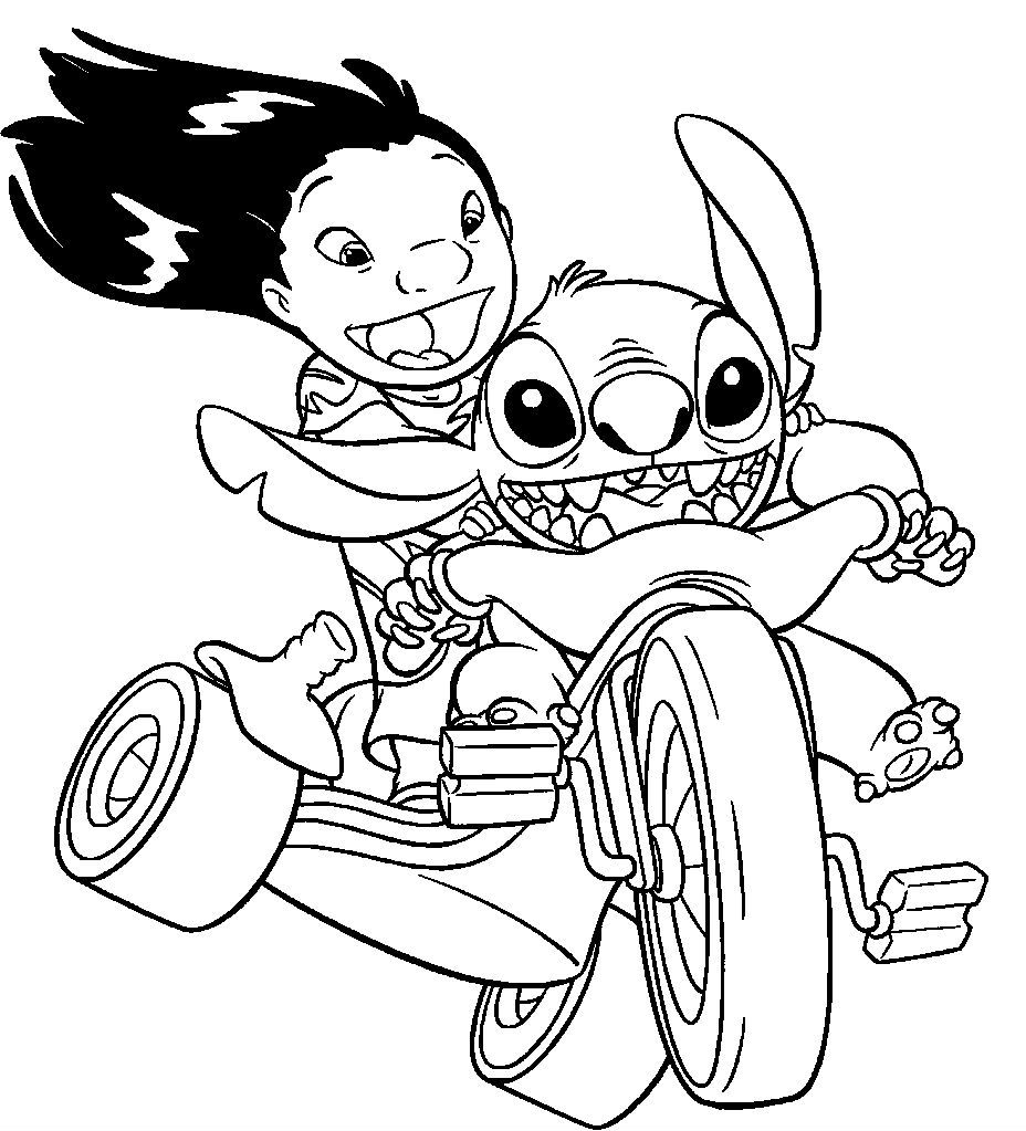 lilo and stitch riding a motorcycle coloring pages