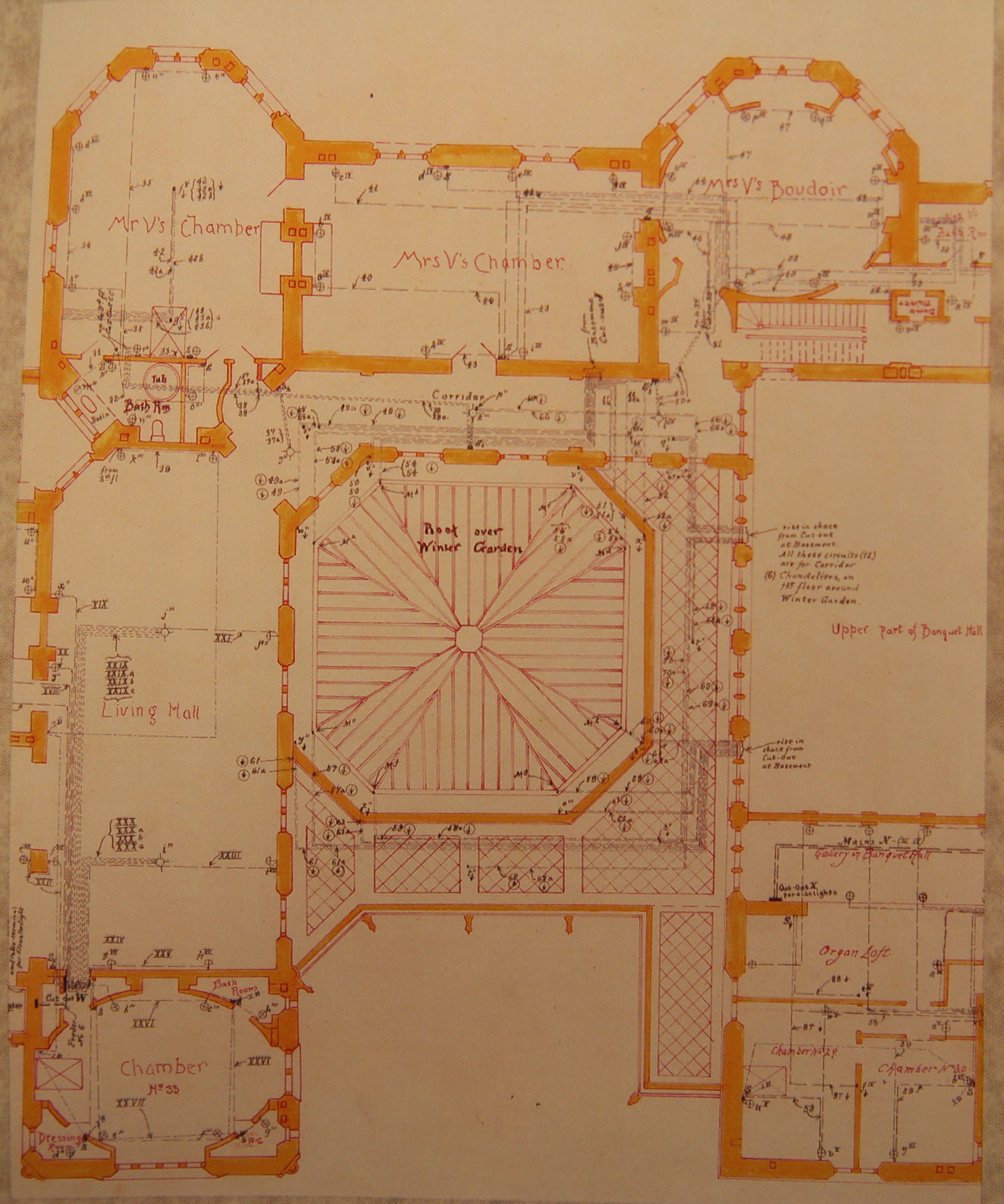 Electrical Plans For Part Of The Second Floor Of The Biltmore House Biltmore Biltmore Estate Asheville Biltmore House