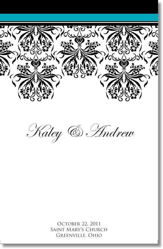 Damask wedding program (sample from catholicbrides) Wedding - wedding agenda sample