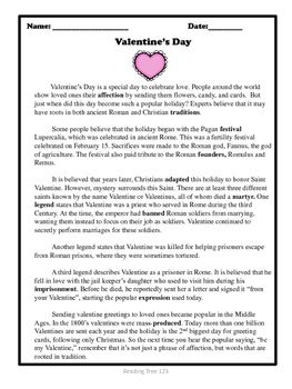 Valentine S Day Reading Passage And Activities