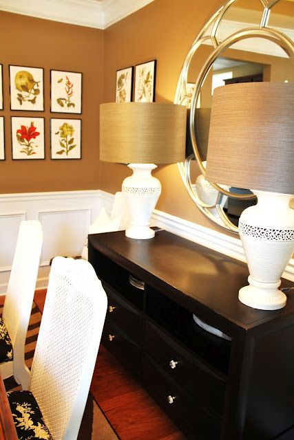 In dining room, 2 lamps and a mirror above buffet   Elegant dining room, Mirror dining room ...