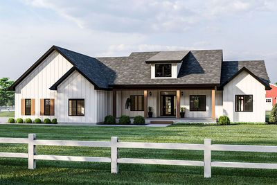 A covered front porch and board and batten siding give this 3-bed modern farmhouse plan great curb appeal. Inside, welcoming views extend into the great room with cathedral ceilings and exposed beams. The kitchen boasts ample counter space, an island work area with breakfast bar and a roomy walk-in pantry. The dining area has direct access to the rear covered patio giving you outdoor dining options. Just off the kitchen, a mudroom with built-in bench intercept