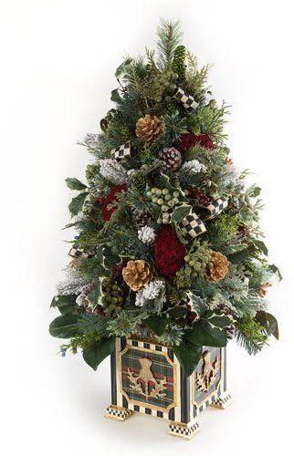 MacKenzie-Childs Highland Tabletop Tree Resin pot houses adorned