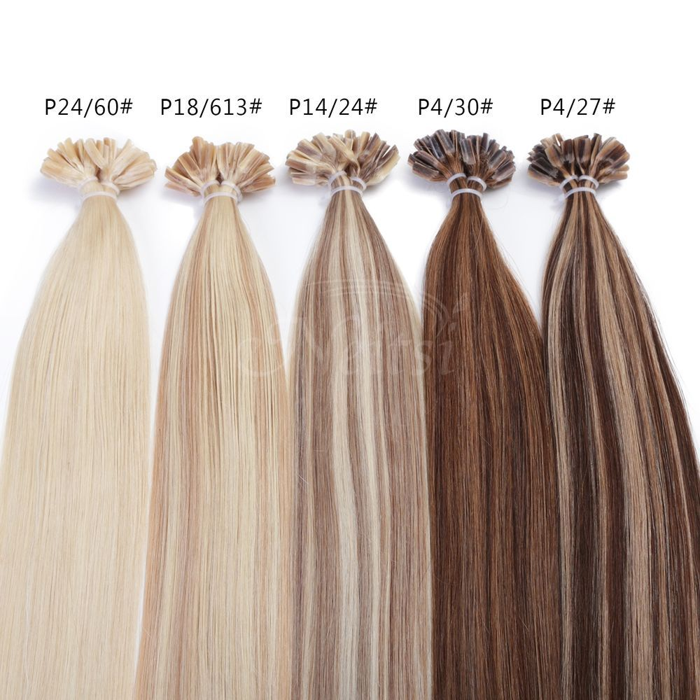 20 25slot 100 Remy Hair Extensions Pre Bonded U Nail Tip Straight