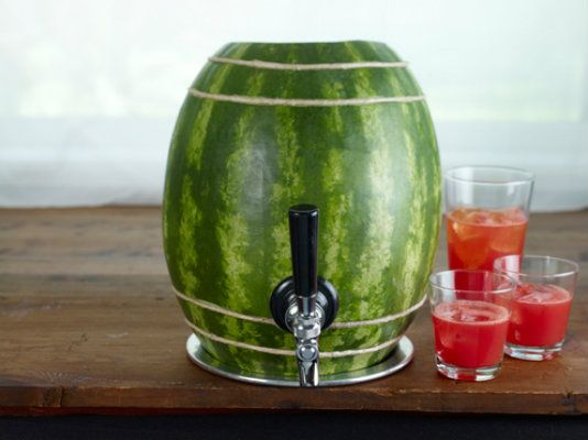 Cut a hole in a watermelon! Add a faucet thing, and even decorate ...