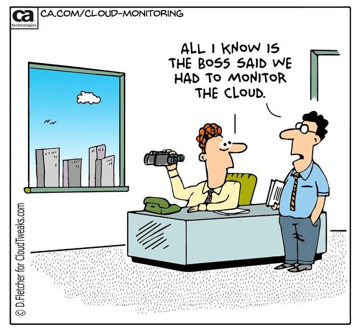 Cloud Monitoring Co Branded Comic Provided By Ca Technologies And Cloudtweaks Com Computer Humor Computer Jokes Technology Humor