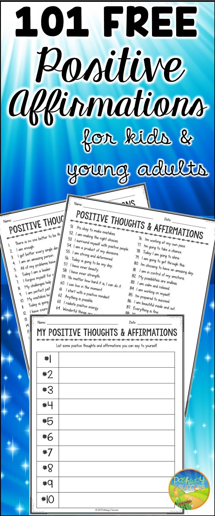 101 free positive affirmations for kids and young adults to build ...