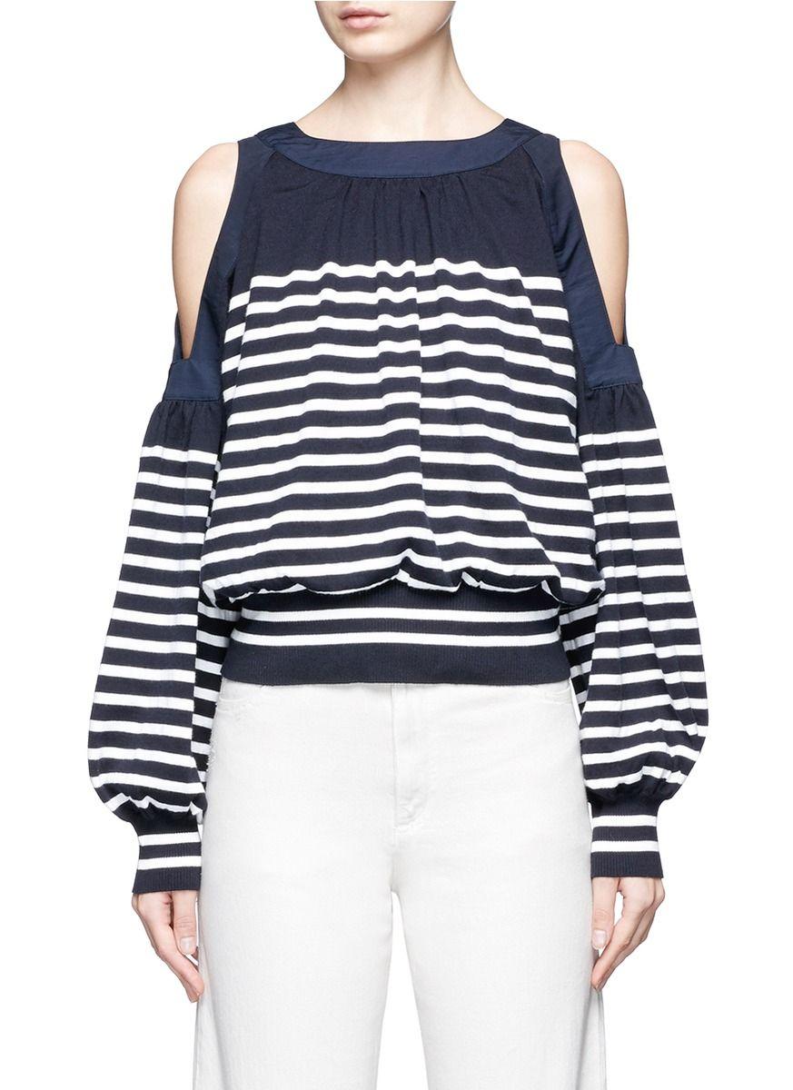 9e14cdf40b3d2 SACAI Stripe Cotton-Cashmere Cold Shoulder Sweater.  sacai  cloth  sweater