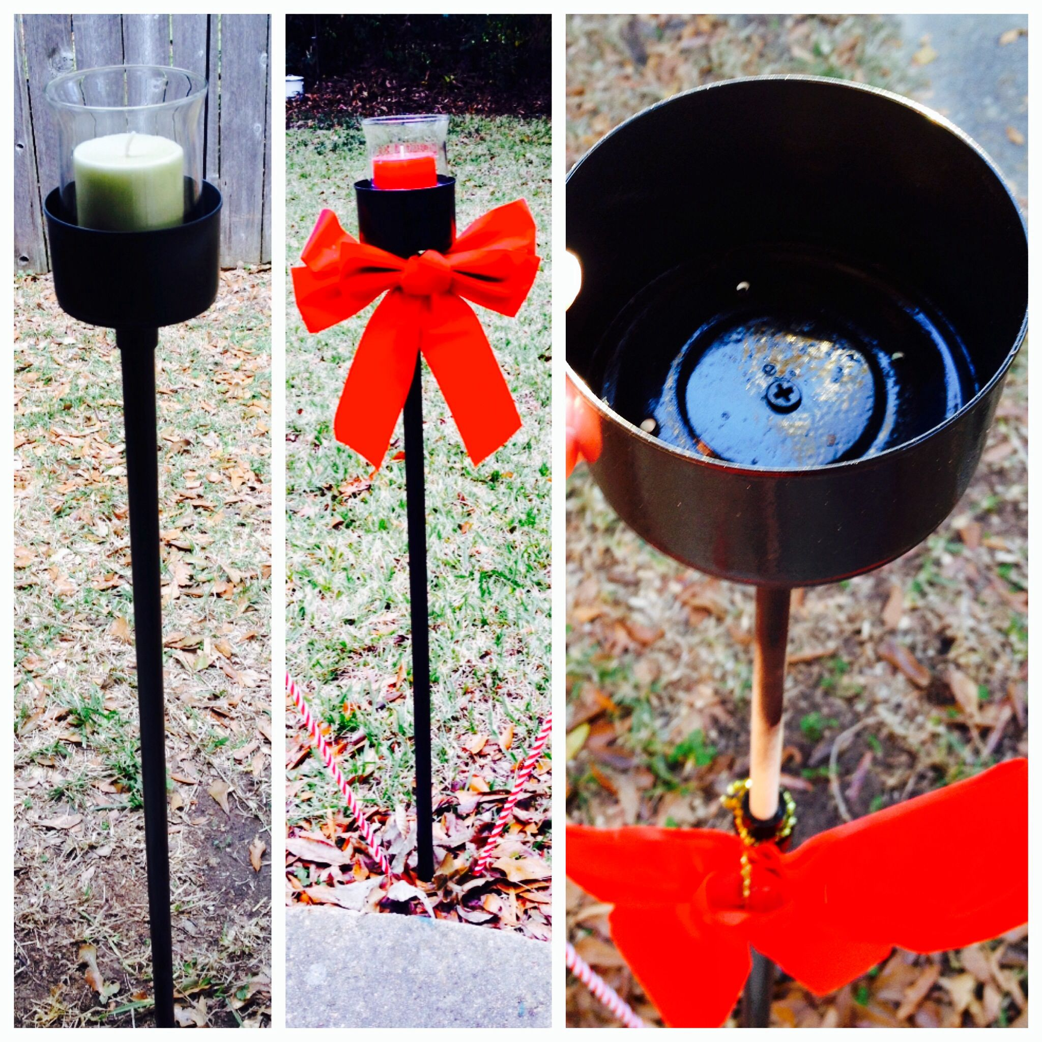 Outside Candle Holders. Made From Inch White Plastic PVC Pipe, Big Tunafish  Can, Wooden Dowel Rod, Wood Screw, U0026 Black Spray Paint.