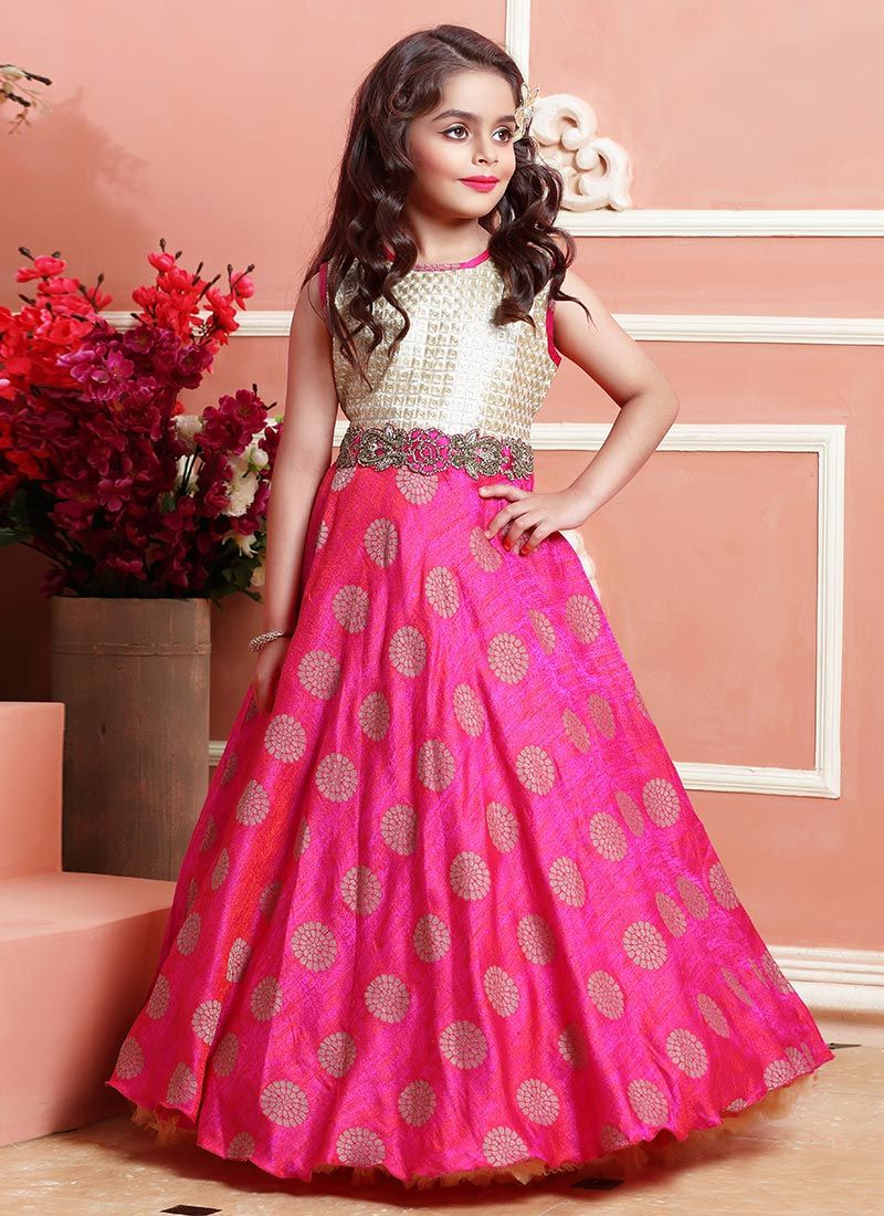 Buy Pink N Beige Art Silk Kids Gown online from the wide collection ...