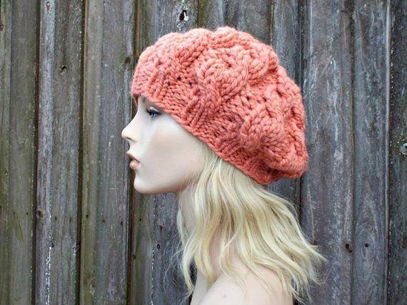 f5c8243c650 Womens Chunky Knit Hat - Ripe Peach Cable Beret - Peach Hat Peach Beret -  Fall