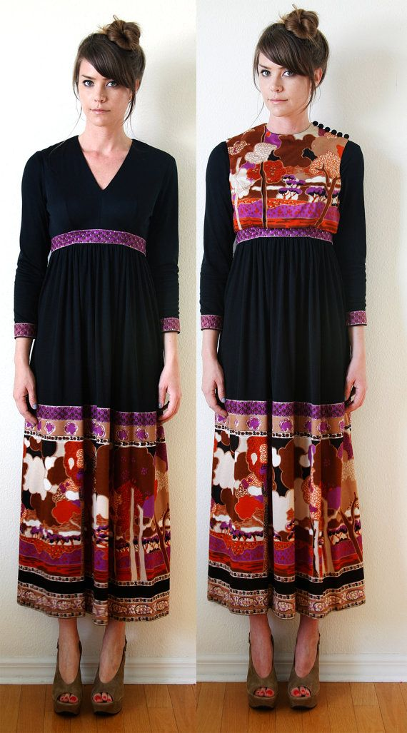 Boho Maxi Dress With Bib Vest Black and Bold by VintageReBelle, $69.00