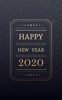 Golden Happy New Year 2020 In Vertical With Glitter On Black Color Background Happy New Year 2020 New Year 2020 Happy New Year