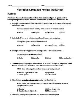 Figurative Language Review Worksheet | School: Class Ideas ...