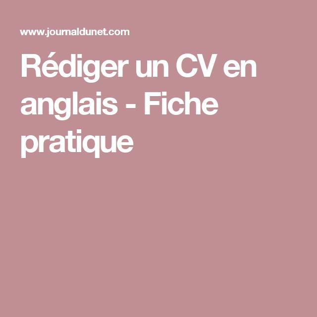 Rédiger un CV en anglais | Cv anglais, Rédiger un cv, Le cv