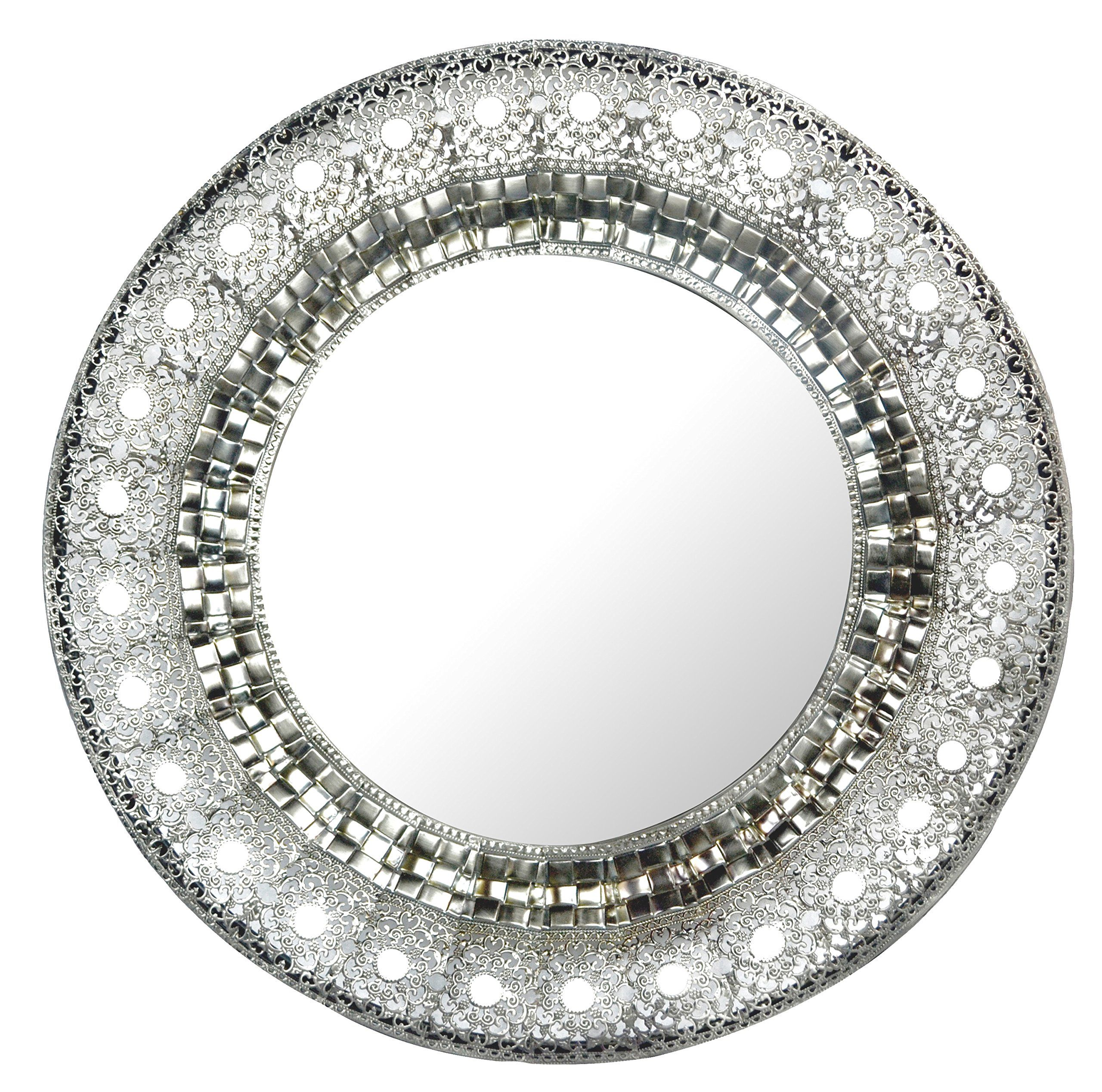 Lulu decor 19 oriental round silver metal wall mirror for Round silver wall mirror